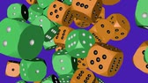 Green and Orange Color Dice Collided Стоковые видеозаписи