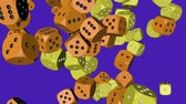 Yellow and Orange Color Dice Collided Стоковые видеозаписи