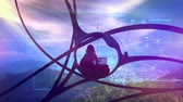 blogger : Sci-fi blogger surrounded by nature, social infographics Stock Footage
