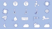 Icons of different weather in blue white colors on the alpha channel Vidéos Libres De Droits