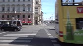 viyana : City bus is riding intersection in the center of capital of Austria, Vienna city