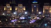 den nezávislosti : KYIV, UKRAINE - CIRCA JUN 2018: Night panorama of the Maidan Nezalezhnosti and Khreshchatyk street in Kyiv. Independence square in Ukraine - Kiev