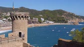 vivid wall : Picturesque panorama of the coastline of the Tossa de Mar in sunny day. Costa Brava, Catalonia, Spain Stock Footage
