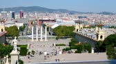 montjuic : Scenic panorama of a Barcelona from a Montjuic hill. Wife on the Cairana, the Magic Fountain of the Montjuic Stock Footage