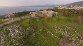 karma : Aerial shot approaching and flying above a medieval castle in Pylos - Greece Stock Footage