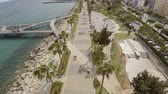 karma : Aerial overhead shot of palm trees at Limassol beach in Cyprus Stock Footage