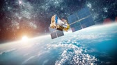 navigation : Space satellite orbiting the earth. Stock Footage