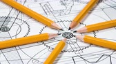 industrial : Technical drawing and tools Stock Footage