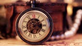 numerais : Antique clock dial close-up. Vintage pocket watch.