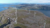 millsime : Windmills for electric power production. Arctic View Havoygavelen windmill park, Havoysund, Northern Norway Aerial footage. Stock Footage