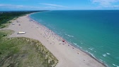 relaxation : Italy, the beach of the Adriatic sea. Rest on the sea near Venice. Aerial FPV drone flights.