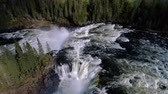 forest : Ristafallet waterfall in the western part of Jamtland is listed as one of the most beautiful waterfalls in Sweden. Stock Footage