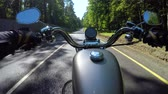 tachimetro : Riding a motorcycle. Biker rides on the road with a first-person.