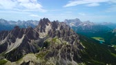tre cime di lavaredo : National Nature Park Tre Cime In the Dolomites Alps. Beautiful nature of Italy. Aerial FPV drone flights Stock Footage