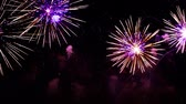 havai fişek gösterisi : Colorful fireworks exploding in the night sky. Celebrations and events in bright colors.