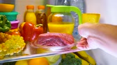 refrigerateur : Fresh raw meat on a shelf open refrigerator