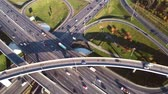 land pollution : Aerial view of a freeway intersection traffic trails in Moscow.