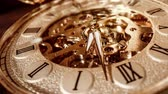 minutes : Antique clock dial close-up. Vintage pocket watch.