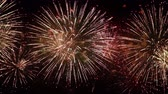 happy new year : Colorful fireworks exploding in the night sky. Celebrations and events in bright colors.