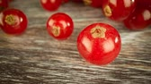 red currant : Super close macro of a redcurrants on a wooden table.