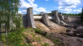 karelia : Hydroelectric power station dam in Imatra Finland. Stock Footage