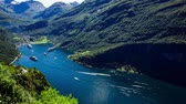 spedycja : Geiranger fjord, Norway. It is a 15 kilometre (9.3 mi) long branch off of the Sunnylvsfjorden, which is a branch off of the Storfjorden (Great Fjord). Beautiful Nature Norway natural landscape. Wideo