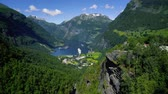 Geiranger fjord, Norway. It is a 15 kilometre (9.3 mi) long branch off of the Sunnylvsfjorden, which is a branch off of the Storfjorden (Great Fjord). Beautiful Nature Norway natural landscape. Stock Footage