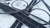 Aerial view of a freeway intersection Snow-covered in winter. Stock Footage