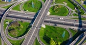 highly : Timelapse Aerial view of a freeway intersection traffic trails in Moscow.