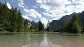 dolomit : Lake Dobbiaco in the Dolomites, Beautiful Nature Italy natural landscape Alps.