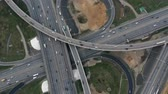 eyaletler arası : Timelapse Aerial view of a freeway intersection traffic trails in Moscow.