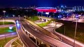 interestadual : Night Timelapse Aerial view of a freeway intersection traffic trails in night Moscow Vídeos
