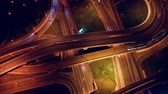 highly : Night Aerial view of a freeway intersection traffic trails in night Moscow