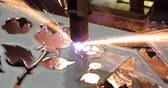 aerospaziale : CNC plasma cutting of metal, modern industrial technology. Plasma cutting is a process that cuts through electrically conductive materials by means of an accelerated jet of hot plasma.