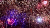 kırmızı : New years eve Christmas fireworks with numbers 2020 from volleys, Colorful fireworks exploding in the night sky. Celebrations and events in bright colors.