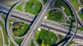 interestadual : Timelapse Aerial view of a freeway intersection traffic trails in Moscow.