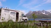 wohnwagen : Family vacation travel RV, holiday trip in motorhome, Caravan car Vacation. Beautiful Nature Norway natural landscape.
