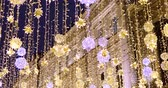 imitation : Street decorative Christmas garlands. New year and Christmas celebration.