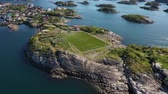 spielplatz : Norway Lofoten Football field stadium in Henningsvaer from above.