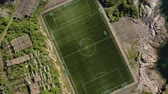 dětské hřiště : Norway Lofoten Football field stadium in Henningsvaer from above.