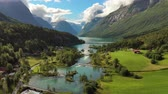 norway fishing : Beautiful Nature Norway natural landscape. Aerial footage lovatnet lake Lodal valley. Stock Footage
