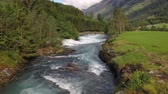 noors : Mountain River Beautiful Nature Norway natural landscape. Aerial footage lovatnet lake Lodal valley.