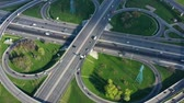 各州間の : Aerial view of a freeway intersection traffic trails in Moscow.