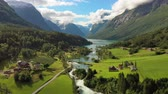 skandinávia : Beautiful Nature Norway natural landscape. Aerial footage lovatnet lake Lodal valley. Stock mozgókép