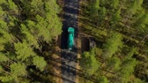 skandinávia : Aerial View of the Forest in Finland. Car moving on the road, top view. Beautiful nature of Finland.