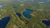 suécia : Aerial View of the Lake and Forest in Finland. Beautiful nature of Finland.