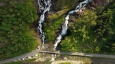 hardanger : Latefossen is one of the most visited waterfalls in Norway and is located near Skare and Odda in the region Hordaland, Norway. Consists of two separate streams flowing down from the lake Lotevatnet.