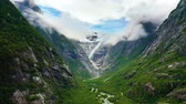 escandinavo : Beautiful Nature Norway natural landscape. Glacier Kjenndalsbreen aerial footage.