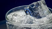cubo de gelo : Glass of water with ice on a dark blue background Vídeos