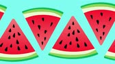 произведение искусства : Optimistic Seamless Watermelon Background. High-Quality, Minimalistic Animation. Great for Your Health  Fruit  Summer Related Projects. Стоковые видеозаписи